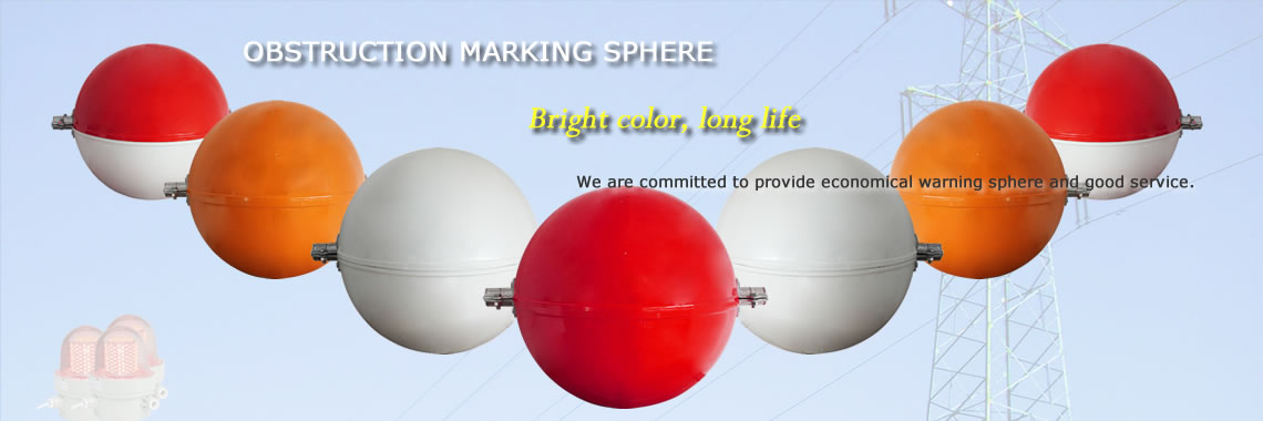 There are several obstruction marking spheres in the color of red, orange, white, red/white and the feature of them.
