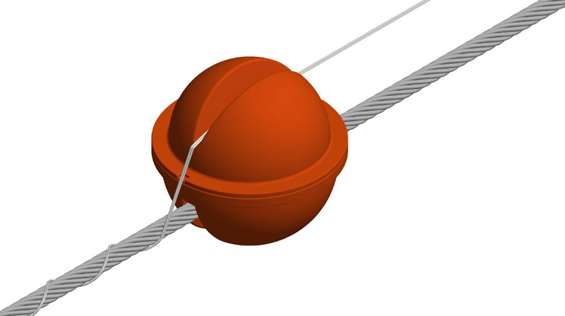 The warning sphere is placed on the conductor and the armor rods are placed on upper slot.