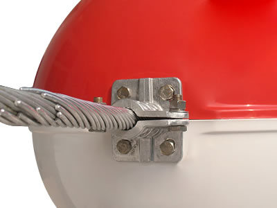 The picture shows preformed armor rods in the red/white obstruction marking sphere.