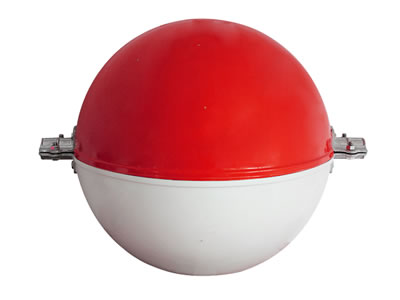 Obstruction marking sphere with red and white color.